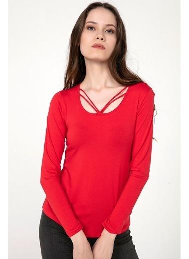 Tiffany&Tomato Uyaka İpli Uzun Kollu T-Shirt Kırmızı